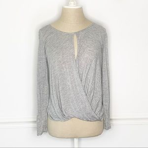Lush Faux Wrap Long Sleeve Blouse with Keyhole
